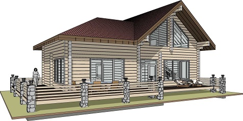Проект дома с баней из клееного бруса