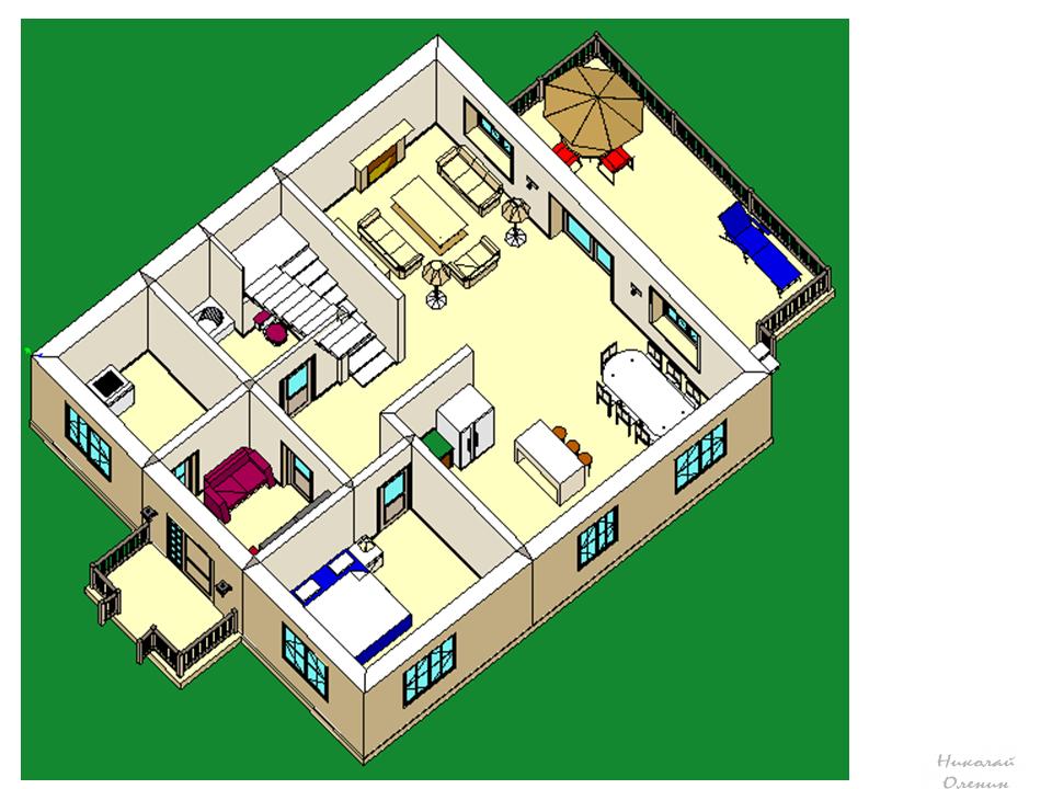 как нарисовать План первого этажа 3D