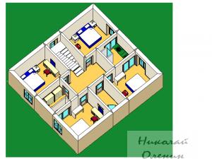 3D планировка второго этажа