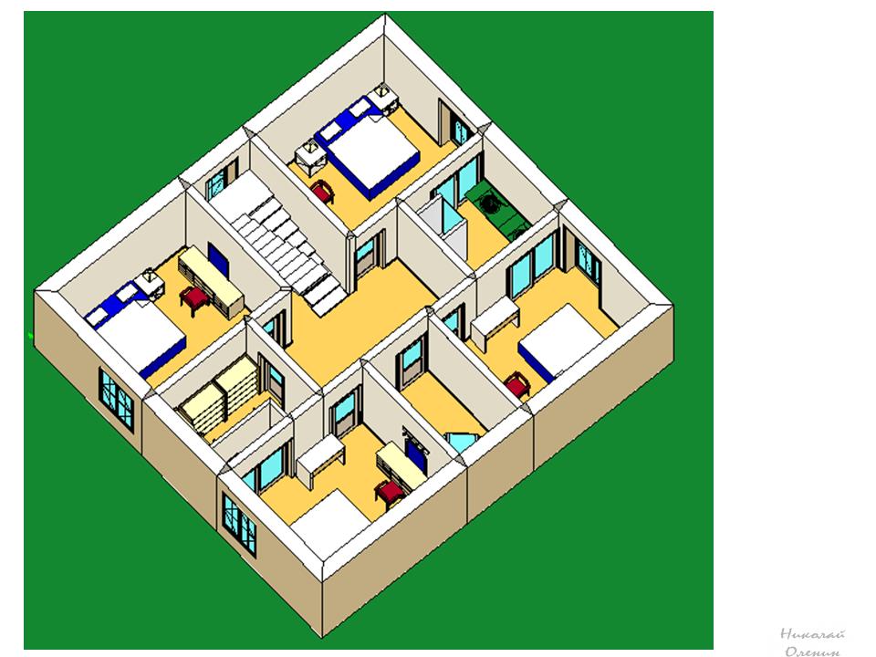 как нарисовать план второго этажа 3D