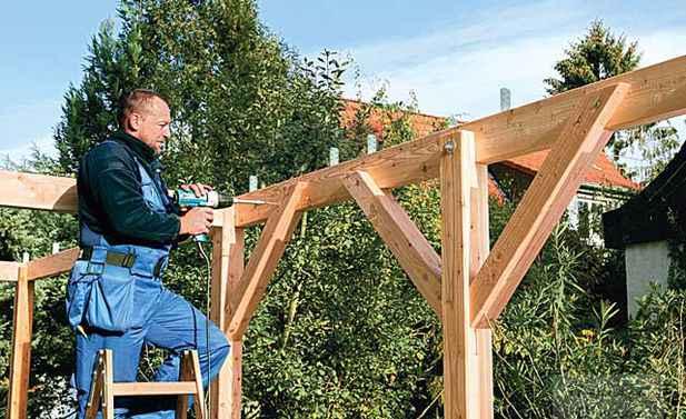 Как к деревянному дому сделать навес