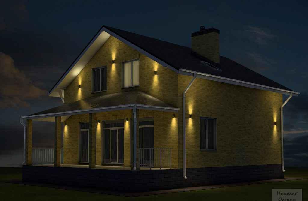 Predné osvetlenie súkromného domu
