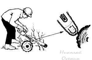 Обратный удар бензопилы