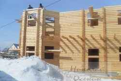 Строительство стен из бревна зимой