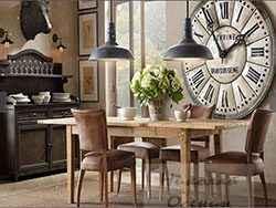 Часы в интерьере столовой