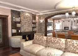гостиная с кухней частного дома