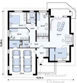 Вместительный одноэтажный дом с гаражом на два автомобиля