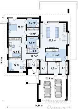 Большой дом с двумя спальнями и тремя санузлами