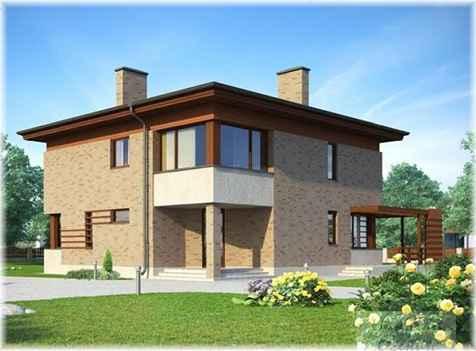 Проект двухэтажного дома площадью 235 м2 с террасой