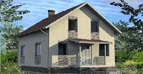 Проект блочного дома с мансардой 9x9