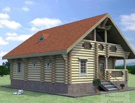 Проект двухэтажного дома из рубленного бревна