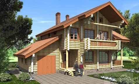 Проект бревечатого дома с мансардой