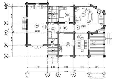 Планировка первого этажа.