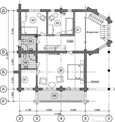 Планировка второго этажа.