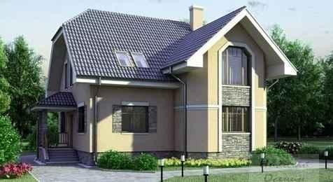 Проект кирпичного дома с гаражом 14x10