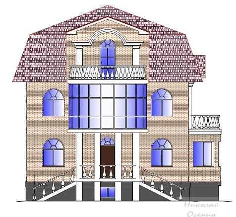 Проект коттеджа с балконом