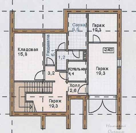 План цокольного этажакирпичного двухэтажного дома