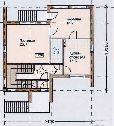 План первого этажакирпичного двухэтажного дома