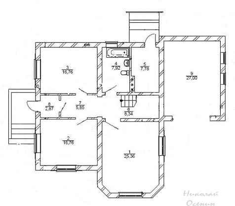План первого этажакирпичного дома с гаражом