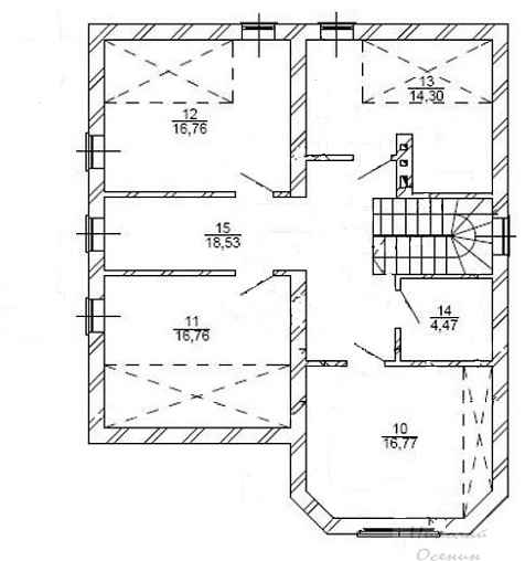 План второго этажакирпичного дома с гаражом