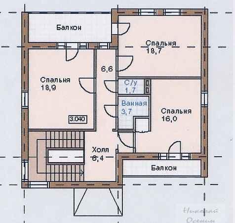 План второго этажакирпичного двухэтажного дома