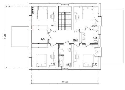 Проектдома с мансардой 10х11 план 2-го этажа