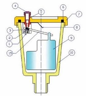 Схема стандартного воздухоотводчика