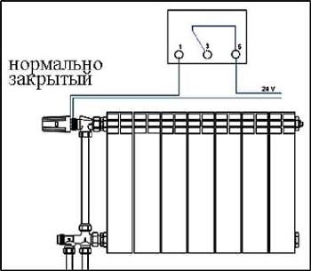 Подключение к термостату нормально закрытых приборов