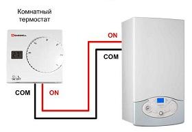 Подключение к котлу комнатного термостата