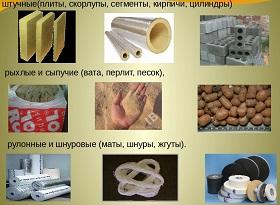 Форма теплоизоляционных материалов