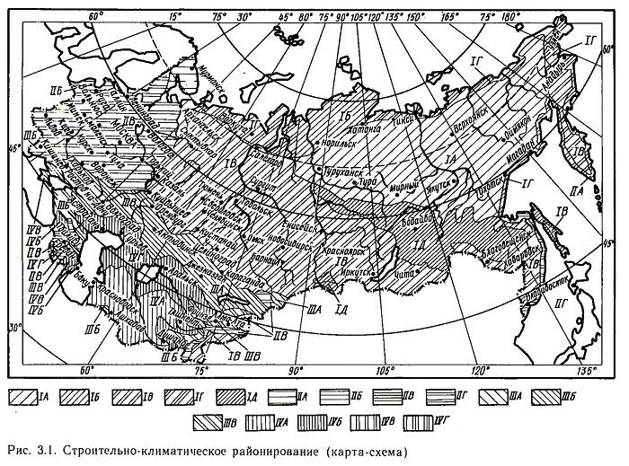 Строительно-климатическое районирование (карта-схема)