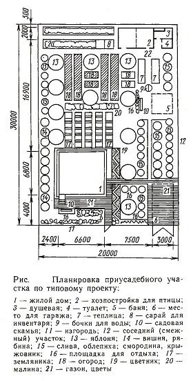 Планировка приусадебного участка по типовому проекту