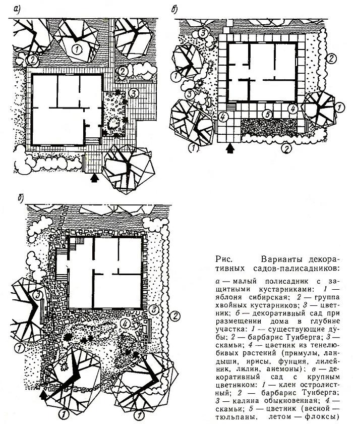 Варианты декоративных садов и палисадников